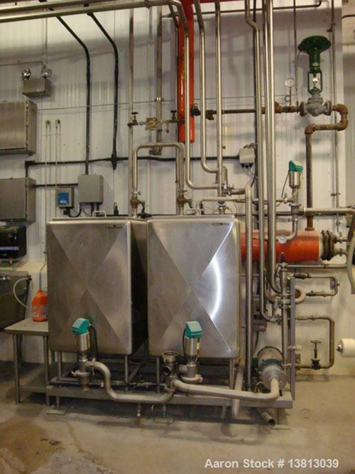 Used- Twin Tank CIP System with B/G tube and shell heat exchanger, TriClover pump.
