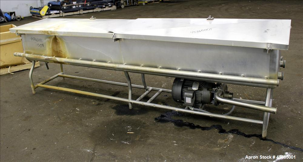 """Used- COP Clean Out of Place Tank, Approximately 188 Gallon, 304 Stainless Steel. Trough 123"""" long x 21"""" wide x 17"""" deep. Op..."""