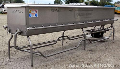 Used- Sani-Matic Horizontal C.O.P. Tank, Model RW-12-10-N-NE-1, Approximate 275 Gallon, 304 Stainless Steel. Tank measures a...