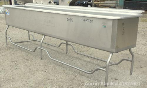 Used- Sani-Matic Horizontal C.O.P. Tank, model RW-12-10-N-NM-1, approximate 275 gallon, 304 stainless steel. Tank measures a...