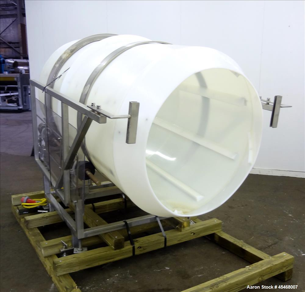 """Used- Seasoning Drum Tumbler, Plastic. Approximately 41-1/2"""" diameter x 78-1/2"""" long, with 32"""" diameter opening. Driven by 1..."""