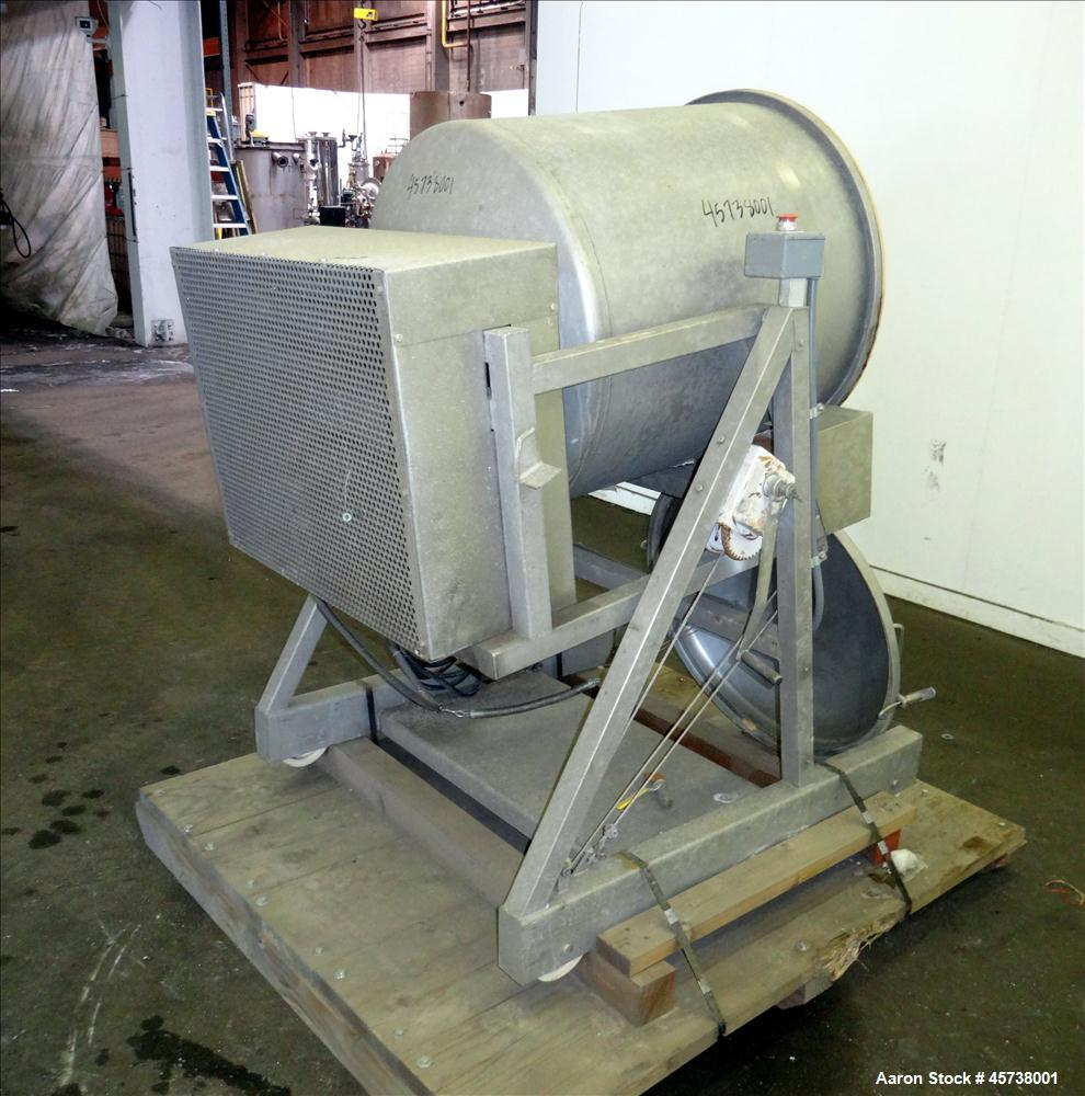 Used- Drum Seasoning Tumbler / Mixer. 304 Stainless Steel.
