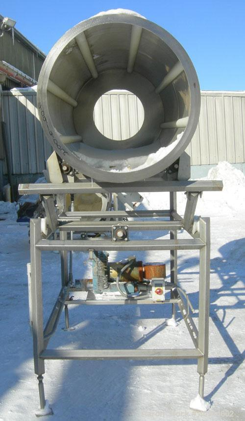 "Used- Allen Machinery Rotating Coating Drum, 304 stainless steel, horizontal. 36"" diameter x approximately 96"" long. (8) int..."