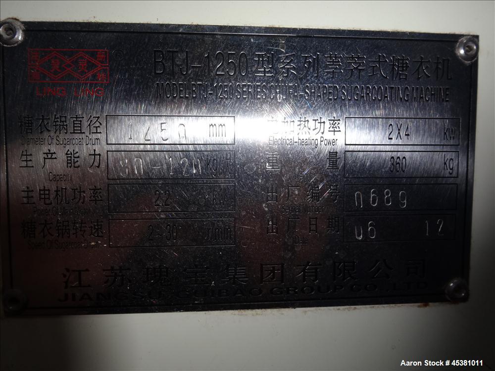 Used- Jiangsu Cuibao Group Chufa Sugar Coating Machine, Model BTJ-1250