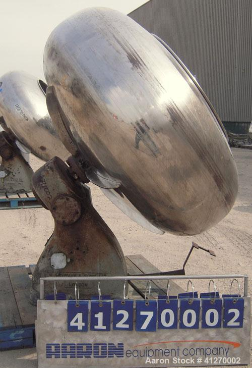 "Used- C. Skerman And Sons Coating Pan, 321 Stainless Steel. 60"" diameter x 30"" deep, 30"" diameter front opening. Requires mo..."
