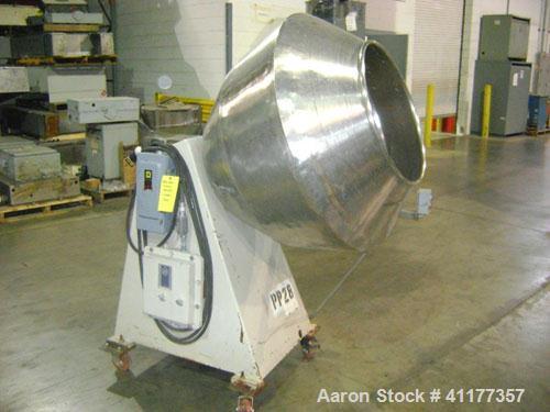 "Used- Cherry Burrell Coating Pan, 36"" diameter, stainless steel. 24"" diameter inlet."