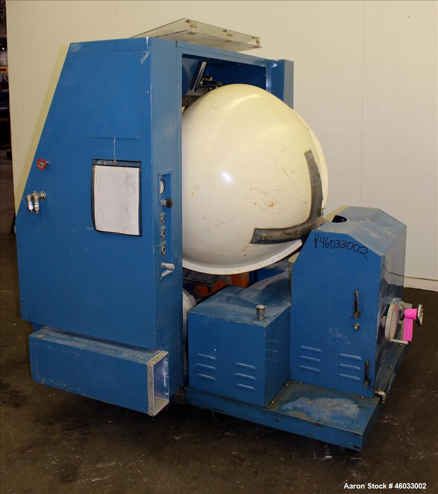"Used- Freund Industrial Co. P2 Automatic Coating Machine, Type FM3 100. Fiberglass pan 39"" diameter x 31"" deep with 19-3/4"" ..."