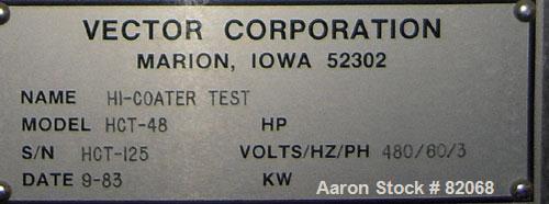 Used- Vector Freund Hi-Coater Coating Pan, Model HCT-48