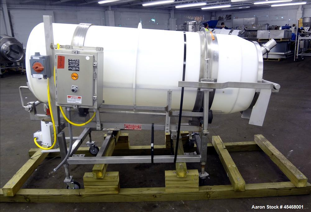 "Used- Johnson Industries Seasoning Drum Tumbler, Model CJ 6000TB, Plastic. Approximately 30"" diameter x 78"" long with 27"" di..."