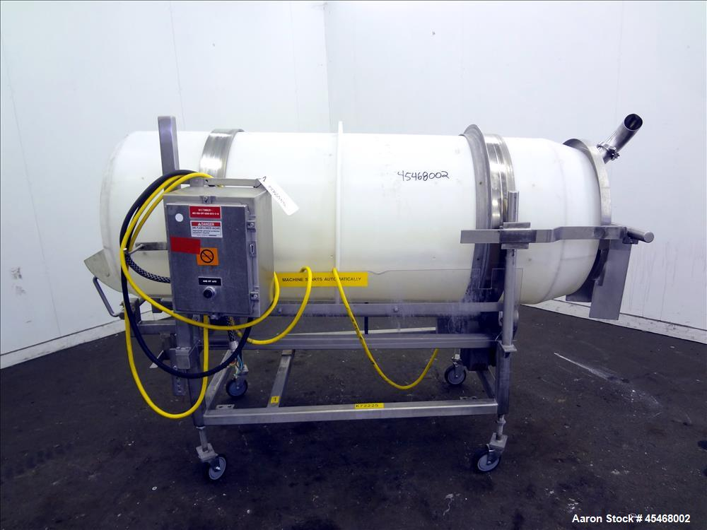 "Used- Johnson Industries Seasoning Drum Tumbler, Model CJ 6000TB. Approximately 30"" diameter x 78"" long plastic drum with 27..."