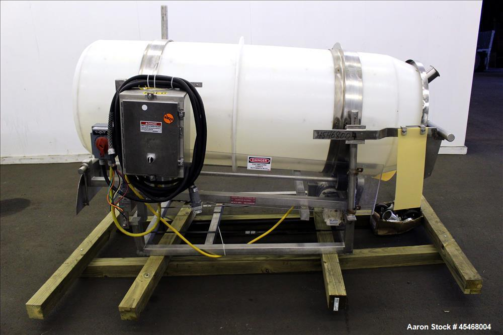 "Used- Johnson Industries, Model CJ-6000TB, Seasoning Drum Tumbler, Plastic. Approximately 29"" diameter x 77-1/2"" long, with ..."