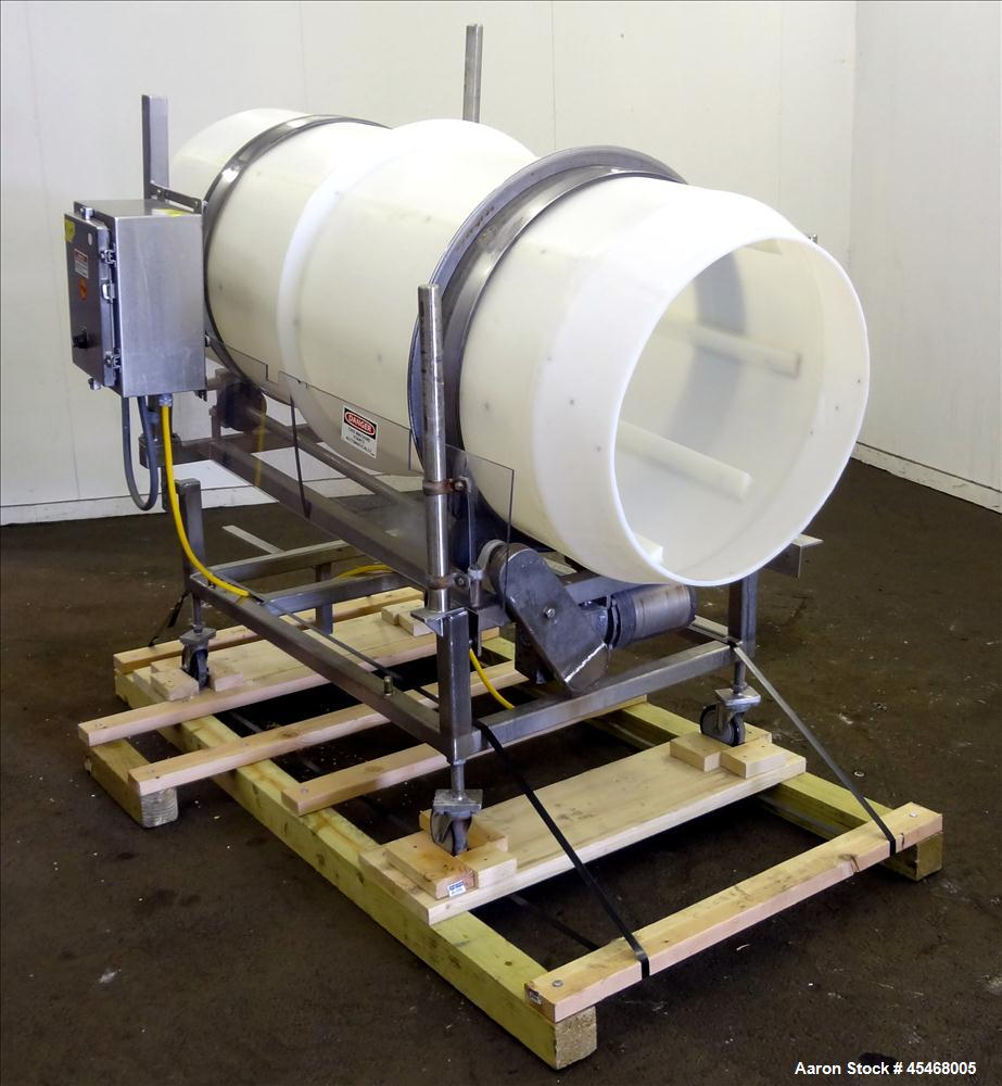 "Used- Johnson Industries Seasoning Drum Tumbler. Approximately 30"" diameter x 72"" long plastic drum with internal flights. D..."
