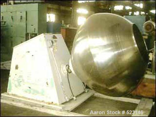 "Used- Lakso Coating Pan, Model 101-103, Stainless Steel. 60"" diameter x 54"" deep pan. 30"" manual feed/discharge opening. Com..."