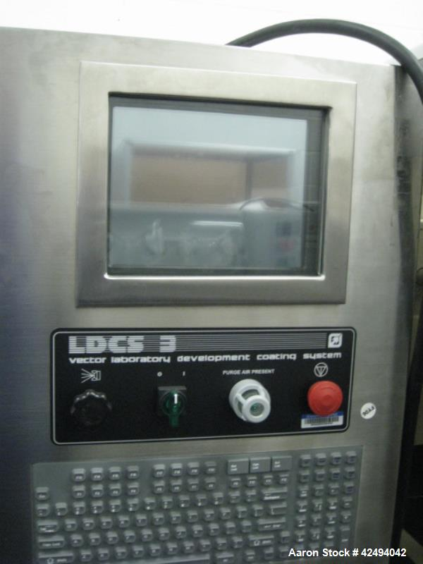 "Used-Vector coating pan, model LCDS-3, stainless steel construction, change pan design with one 16"" stainless steel perforat..."