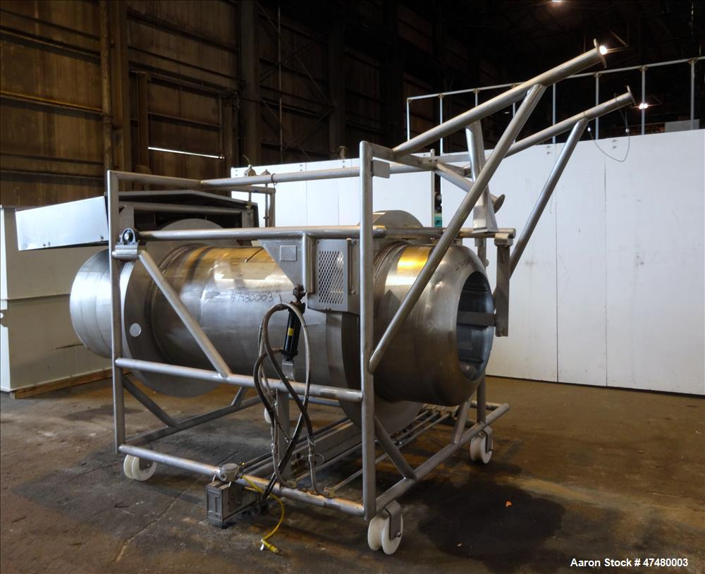 Used- Lordon Limited Drum Tumbler, 304 Stainless Steel, Horizontal.