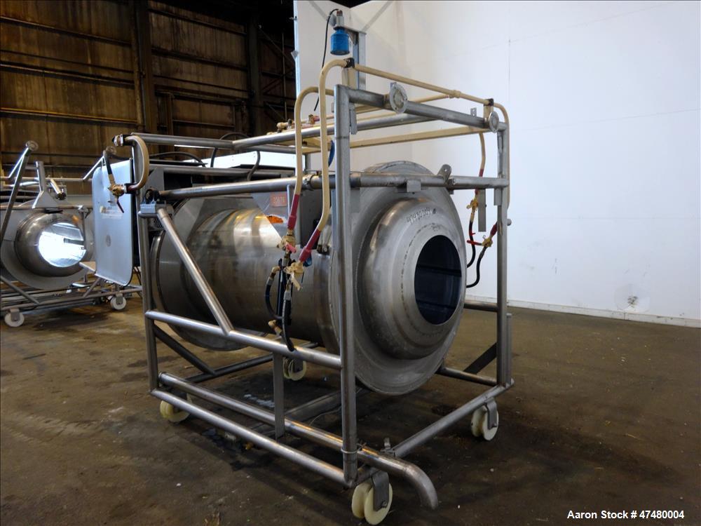 Used- Drum Tumbler, 304 Stainless Steel, Horizontal.