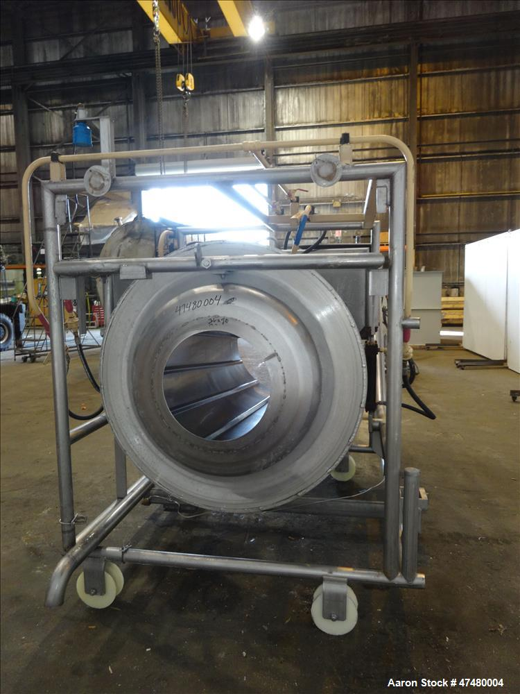 Used- Drum Tumbler, 304 Stainless Steel, Horizontal.