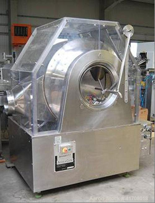 Used-Manesty Accela Cota 148 Coating Pan, stainless steel on product contact parts, 220/380/50 hz, 3 phases, total capacity ...