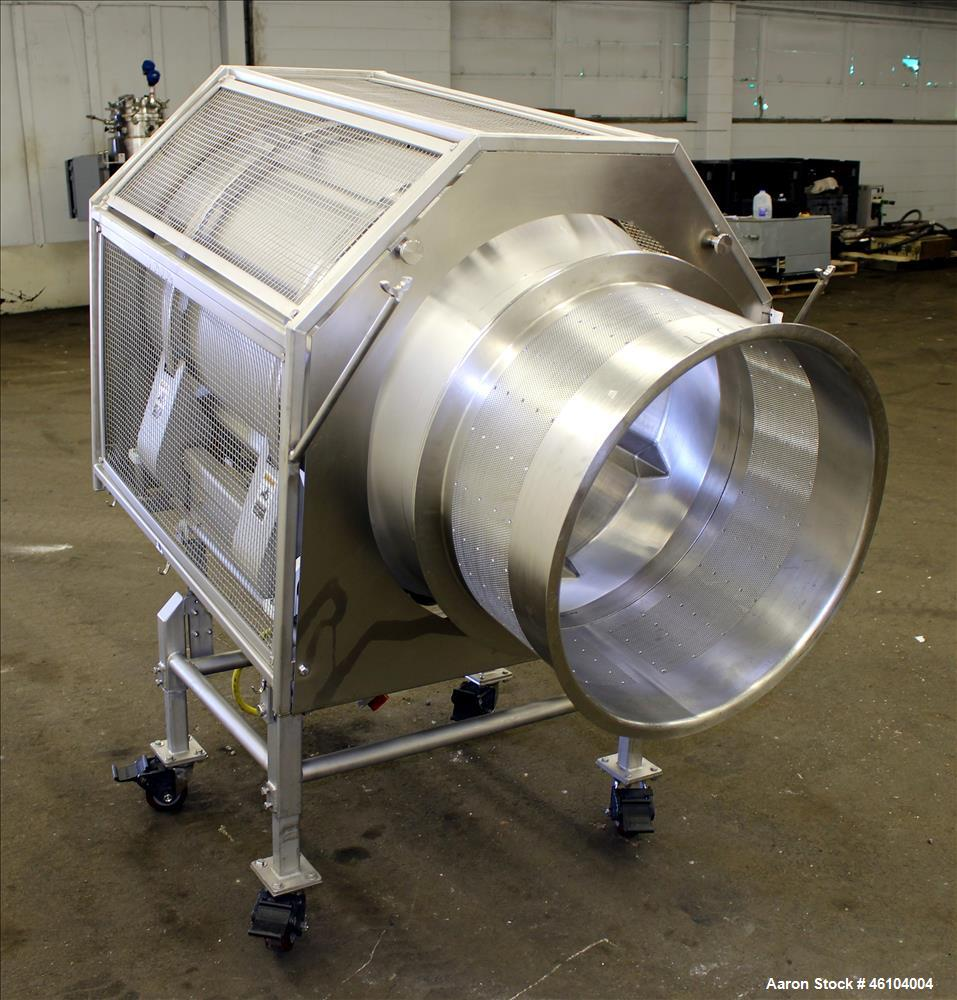 "Used- Marchant Schmidt Drum Tumbler, Model TD3072, 304 Stainless Steel. 30"" Diameter x 48"" long drum with 25"" opening. Drive..."