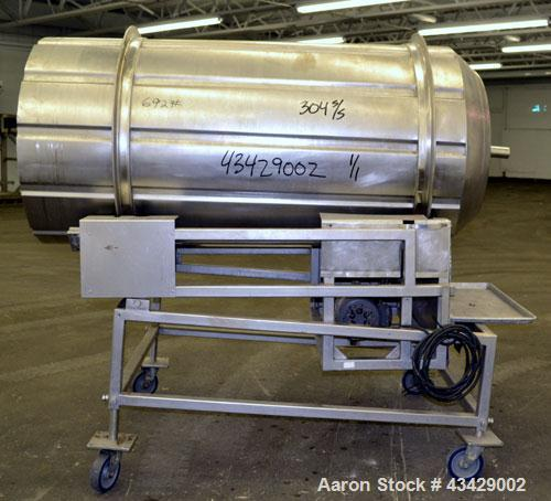 "Used- Spray Dynamite Rotary Drum Tumbler/Liquid Applicator, 304 Stainless Steel. 30"" Diameter x 65"" long horizontal drum wit..."