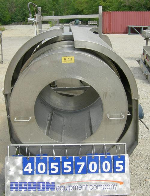 "Used- Coating drum, horizontal, 304 stainless steel. 38"" diameter x 43"" long, 24"" feed opening, end discharge with removable..."