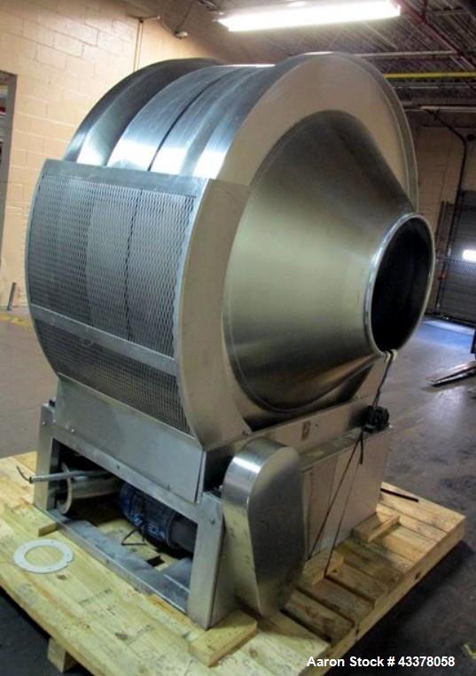 "Used- Pellegrini Coating Pan, Model T-300, 60"" Diameter. Stainless steel construction. With internal baffles, 20"" opening, 4..."
