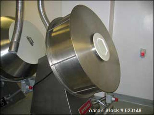 """USED: 48"""" Stokes Coating Pan, model 1-900-0018, stainless steel construction, on base with drive."""