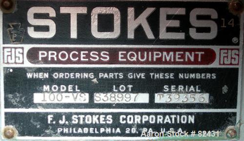 USED: Stokes coating pan base only, model 100-VS. Includes a 1 hp, 3/60/208-220/440 volt, 1725 rpm motor with a reducer, rat...