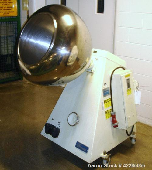"""Used- Stokes 30""""Coating Pan, model900-300-1,stainless steel. 18""""Diameter opening. Mounted on a portable base with variab..."""