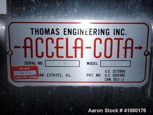 "Used- Thomas Engineering Accela Cota, 24"" Diameter, Model 24 MK II, Stainless Steel. Perforated pan, with spray guns and Tho..."