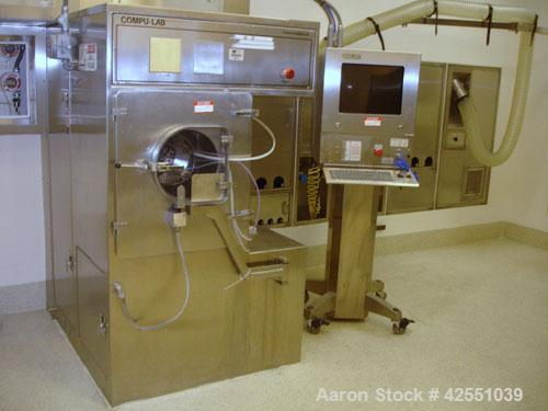 """Used- Thomas Engineering Compulab Coating Pan, Model 24XR, Stainless Steel. Currently with a 15"""" perforated pan and spray gu..."""