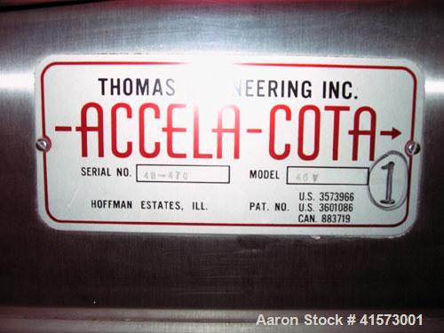 "Used-Thomas Engineering Accela-Cota Coating Pan, Model 48-V, 48"". Stainless steel."