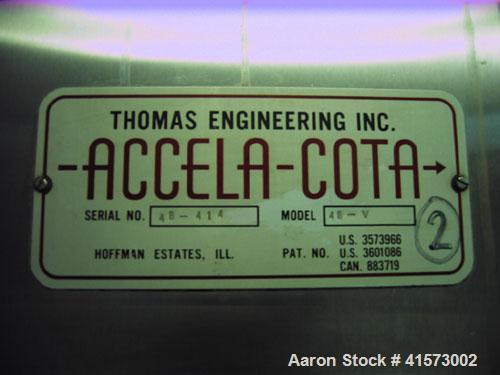 """Used-Thomas Engineering Accela-Cota Coating Pan, Model 48-V, 48""""."""