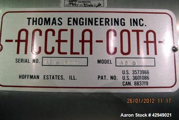 """Used- Thomas Engineering 48"""" Accela Cota Coating Pan, Model 48D. Stainless steel construction, 48"""" perforated pan with lifte..."""