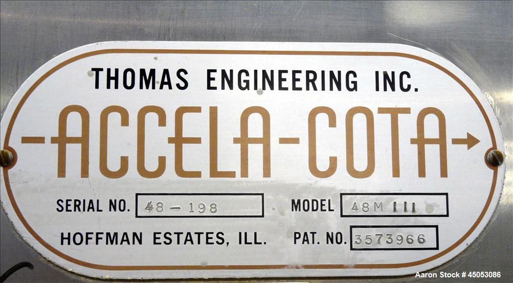 Used- Stainless Steel Thomas Engineering Accela-Cota Coating Pan, Model 48M III