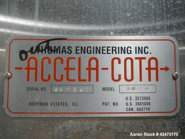 Used- Thomas Engineering Accela Cota Coating Pan, Model 60D