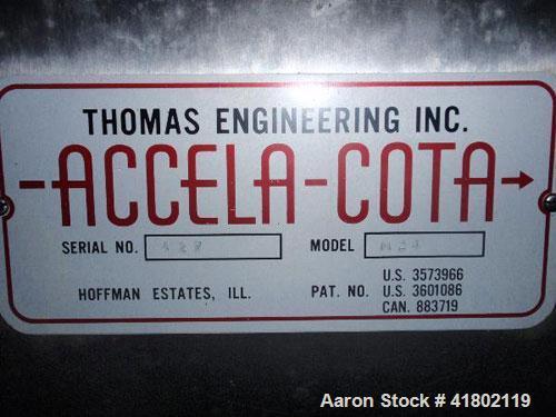 "Used- 24"" Thomas Engineering Accela Cota coating pan, model M24, serial #427."
