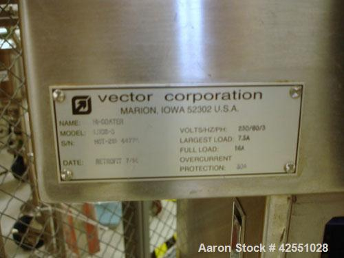"""Used- Vector Coating Pan, Model LCDS, stainless steel. Change pan design with 8"""", 12"""" and 16"""" stainless steel perforated pan..."""