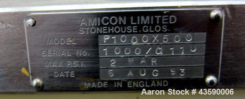 Used- Amicon Biochromatography Process Column, Model P-1000X500. Approximate adjustable capacity 39-393 liters(10-103 gallon...
