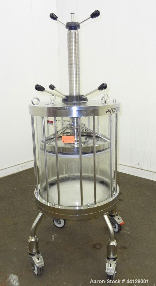 Used- GE Healthcare Life Sciences Glass Chromatography Column, Model BPG 450/500, Code #18-1103-71. (1) Vertical glass colum...