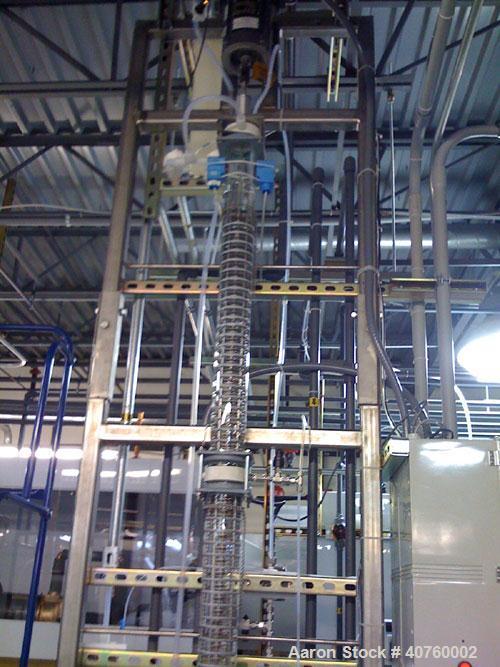 """Used-Koch Modular Process Systems Pilot Scheibel Column, Model XB-3-100-SG. 3"""" diameter Pyrex glass column with (4) glass se..."""