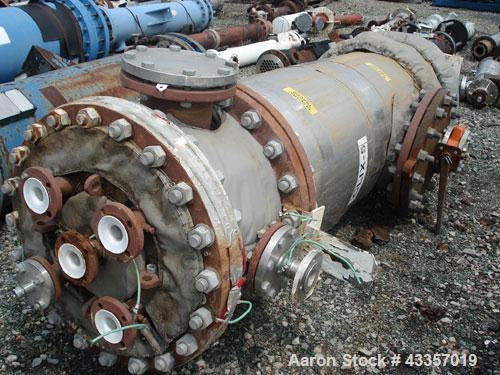 "Used- Morton Machine Works Column, Carbon Steel, Teflon Lined. 32"" Diameter x 128"" straight side, flat top, dish bottom, rat..."