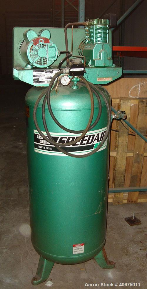 Used-Speedair air compressor, model 5Z185B, cast iron series, vertical tank mounted. Rated 9.5 scfm @ 100 psi.  125 psi max....