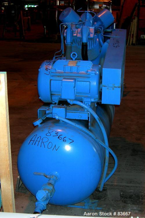 USED: Reciprocating Air Compressor driven by a 20 hp, 3/60/230/460 volt, 1760 rpm motor. Mounted on a 100 gallon receiving t...