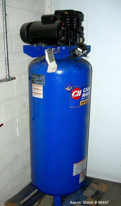 Used- Campbell Hausfeld reciprocating tank mounted air compressor, model VT619503AJ. Approximate 11.7 acfm at 40 psig, 10.2 ...