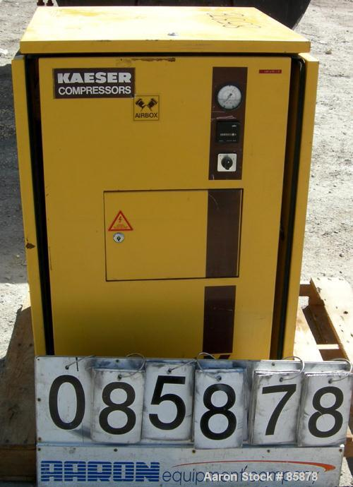 USED: Kaeser Airbox reciprocating compressor, model AB1000. Approximate 35.3 cfm at 200 psi. (2) Cylinders. Driven by a 7.5 ...