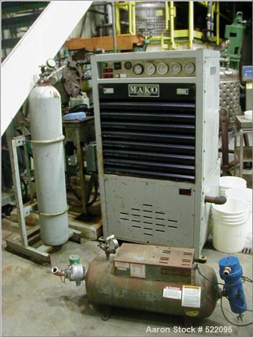 USED: MAKO model 5406-10E3 multistage air cooled compressor, 11 scfm @2100 psig, 10 hp, 480V motor. Interstage with final se...