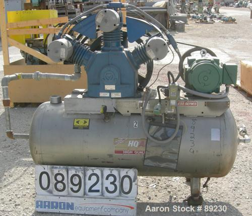 USED: Quincy single stage, oil-less, reciprocating air compressor, model QRDS-15U. (3) Cylinders, approximately 53 scfm at 1...
