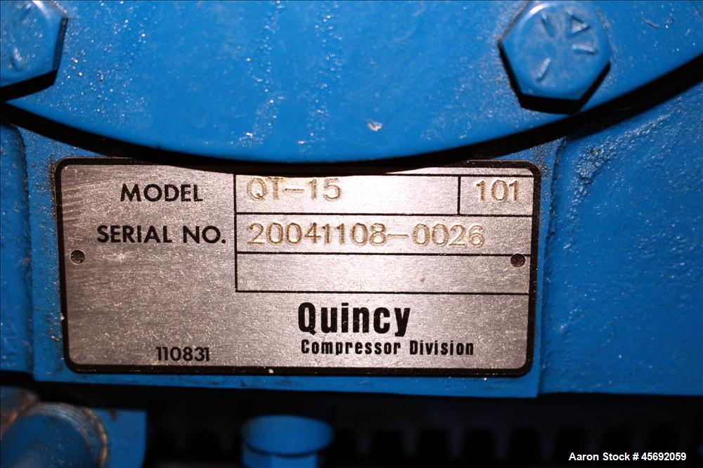 Used- Quincy QT-15 Series Two Stage Reciprocating Air Compressor. Air Cooled. 32.10 cfm at 175 psi at minimum rpm, 62 cfm at...