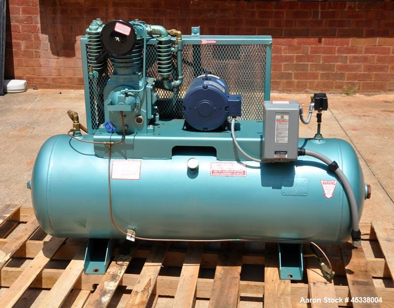 Used- Air Compressor with Leeson Electric Motor. 5HP, 3 phase 460 Volt, 17 CFM at 175 PSI with Mounted Belt Guard After-Cool...